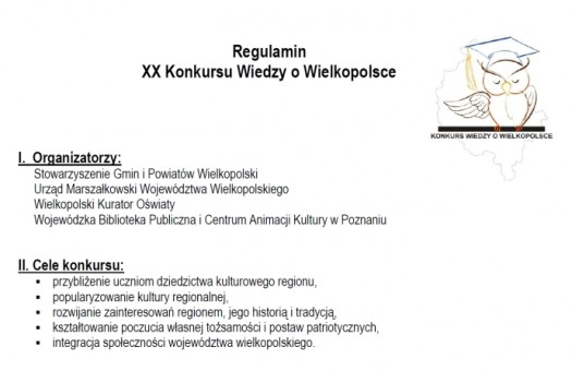 Regulamin XX Konkursu Wiedzy o Wielkopolsce